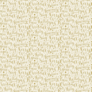 Oh Holy Night Words Linen Gold Metallic Cotton Fabric