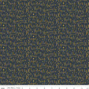 Oh Holy Night Words Navy Gold Metallic Cotton Fabric