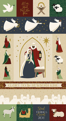 Oh Holy Night Nativity Gold Metallic Cotton Fabric Panel