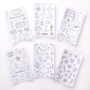 Line Art Coloring Faith Stickers 6 Sheets Set