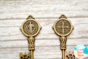 Large Vintage Style Medal of Saint Benedict Antique Bronze Skeleton Keys Pendant Charm Set of 4