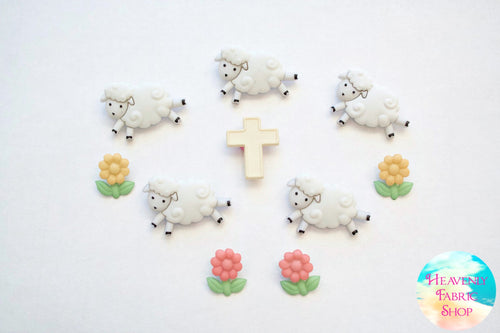 Counting Sheep Spring Easter Button Set