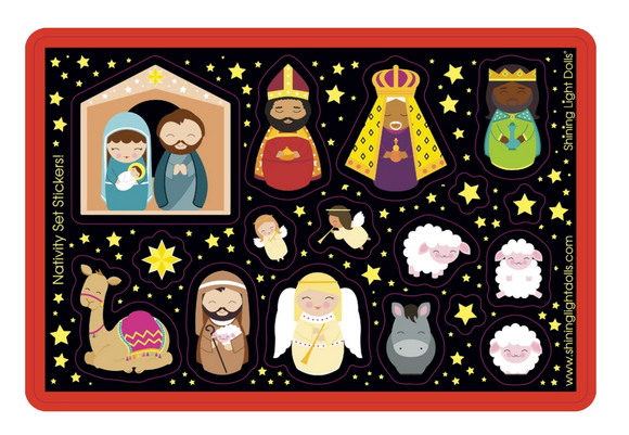 Shining Light Christmas Nativity Sticker Sheet