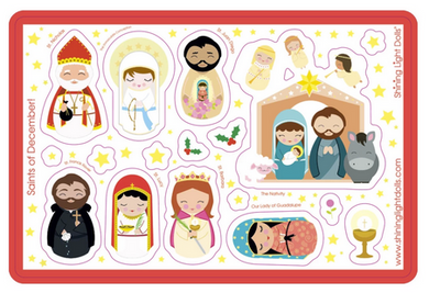 Shining Light December Saints Sticker Sheet - LAST ONE!