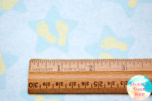 Songbook Twinkle Little Star Baby Footprint Baby Feet Blue Cotton Flannel Fabric