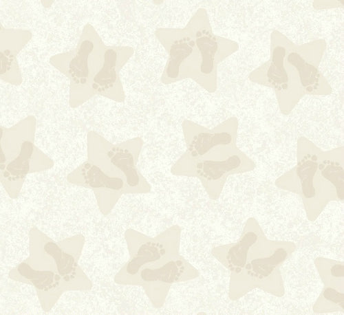 Songbook Twinkle Little Star Baby Footprint Baby Feet Neutral Beige Cotton Flannel Fabric