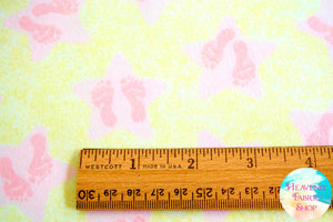 Songbook Twinkle Little Star Baby Footprint Baby Feet Pink Cotton Flannel Fabric