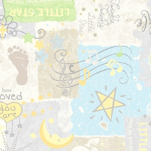 Songbook Twinkle Twinkle Little Star Baby Footprint Cotton Flannel Fabric