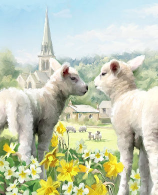 Easter Lambs Large Cotton Fabric Panel