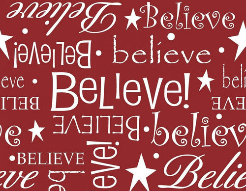 Believe Red Classic Christmas Cotton Fabric