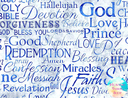 Faith Words Religious Phrases Navy Cotton Fabric