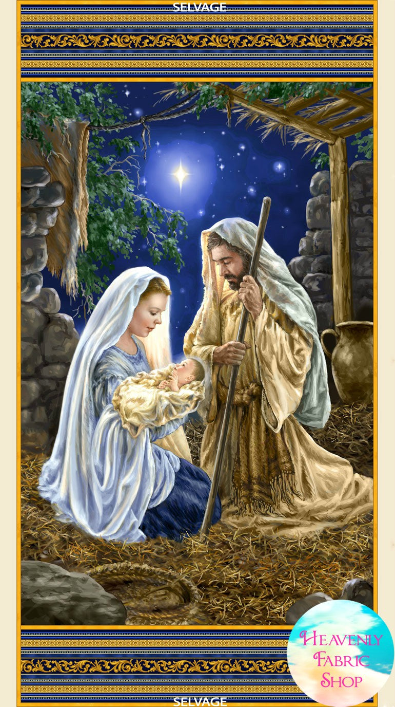 Holy Family Nativity Cotton Fabric Panel