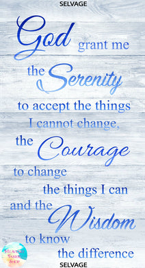 Serenity Prayer Shiplap Wood Cotton Fabric Panel