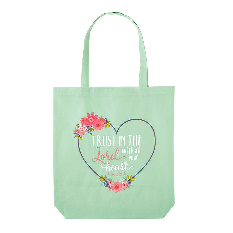 Trust In The Lord Floral Heart Recycled Tote Bag