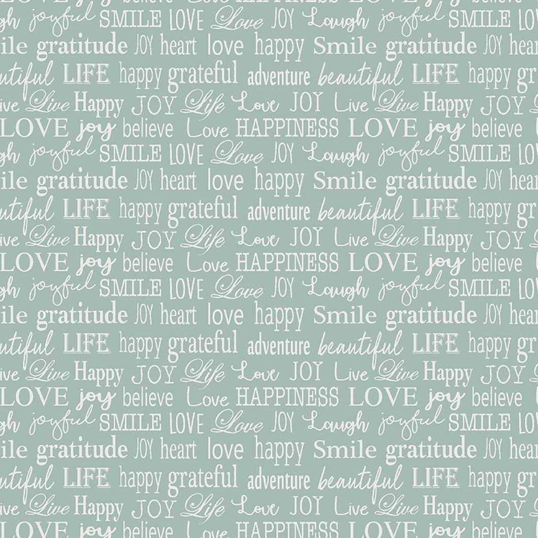 Words To Live By Aqua Inspirational Words Cotton Fabric