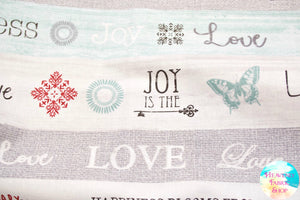 Words To Live By Aqua Stripe Live Laugh Love Cotton Fabric