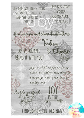 Words To Live By Joy Cotton Fabric Panel