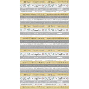 Words To Live By Yellow Stripe Live Laugh Love Cotton Fabric