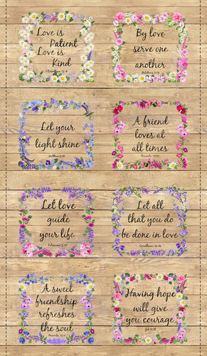 Let Your Light Shine Floral Proverbs Cotton Fabric Panel