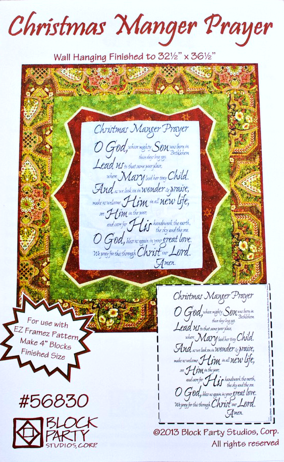Christmas Manger Prayer Quilt Pattern & Fabric Panel Kit