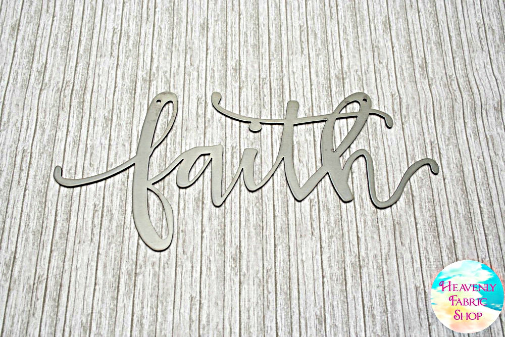 Metal Faith Script Sign