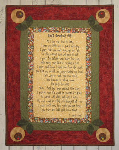 God's Greatest Gift Fabric Panel + Wall Quilt Pattern Kit