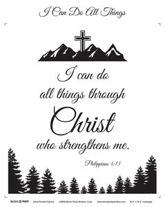 I Can Do All Things Through Christ Philippians 4:13 Fabric Panel
