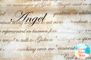 Heaven Sent Angel Script Tan Cotton Fabric