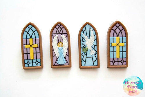 Stained Glass Window Buttons Set