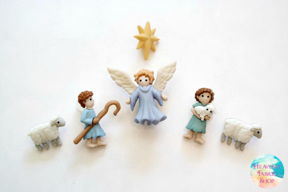 Good Shepherd Sheep and Christmas Angel Button Set