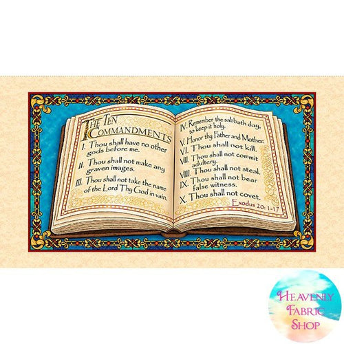 The Ten Commandments Cotton Fabric Panel