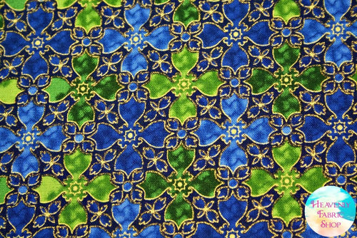 In Bethlehem Royal Blue Green Metallic Stained Glass Cotton Fabric