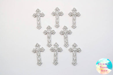 Silver Cross Flat Back Charms Set