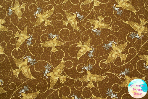 A Golden Holiday Dove Print Cotton Fabric