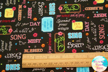 Our Nest Is Blessed Inspirational Words Black Cotton Fabric