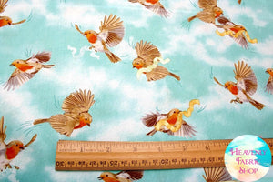 Serenity Prayer Bird Toss Aqua Cotton Fabric