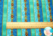 The Ten Commandments Decorative Stripe Blue Cotton Fabric