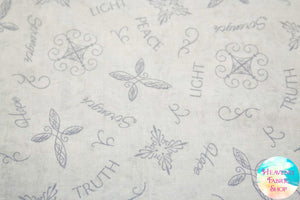 Inspired Journey Tossed Words in Dove Grey Cotton Fabric