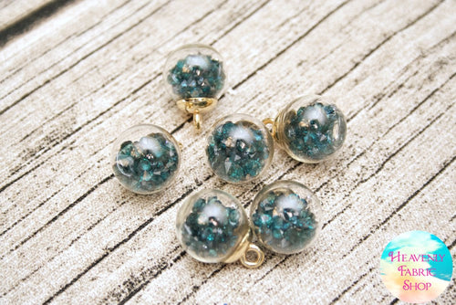 Emerald Green Bubble Ball Glass Bead Charms
