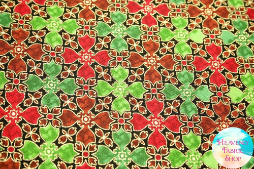 In Bethlehem Red Green Metallic Stained Glass Cotton Fabric