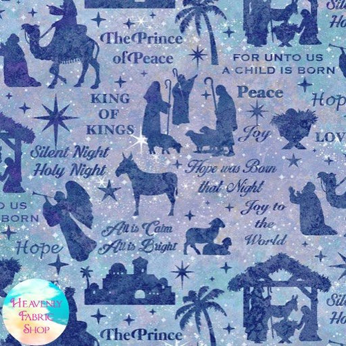 Joy To The World Nativity Purple Blue Cotton Fabric