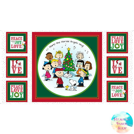 Peace Love Joy Peanuts Christmas Cotton Fabric Panel