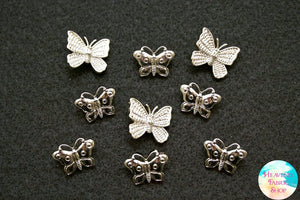 Silver Butterfly Button Set