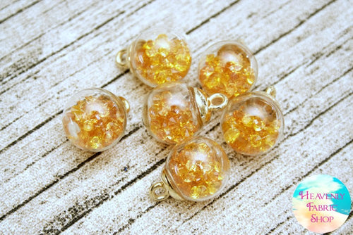 Amber Bubble Ball Glass Bead Charms