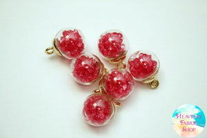 Hot Pink Bubble Ball Glass Bead Charms
