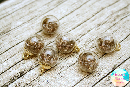 Raw Diamond Bubble Ball Glass Bead Charms
