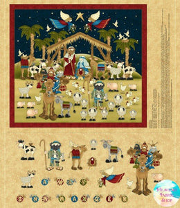 Away In A Manger Advent Calendar Cotton Fabric Panel
