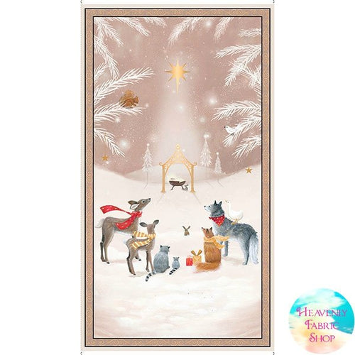 Woodland Dreams Taupe Nativity Cotton Fabric Panel