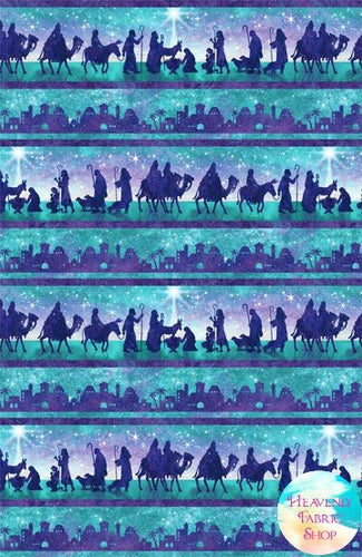 Joy To The World Nativity Border Cotton Fabric