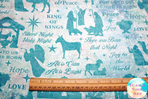 Joy To The World Nativity Aqua Cotton Fabric